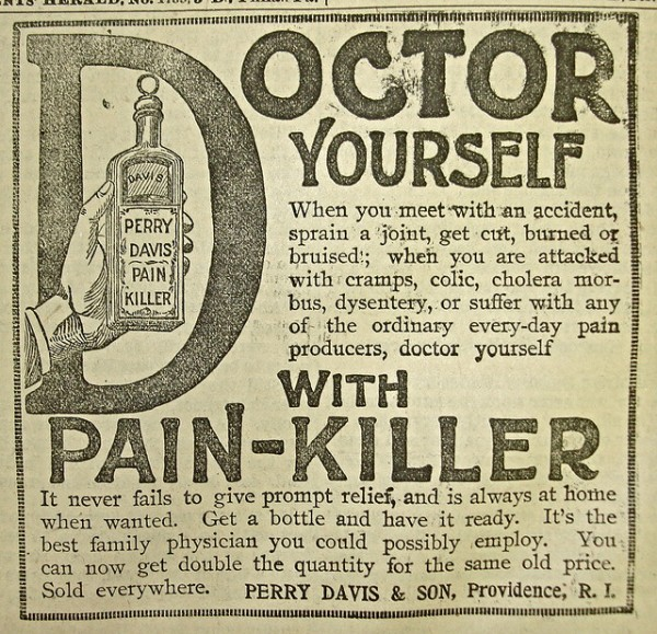 Vintage pain killer advertisement (1908)